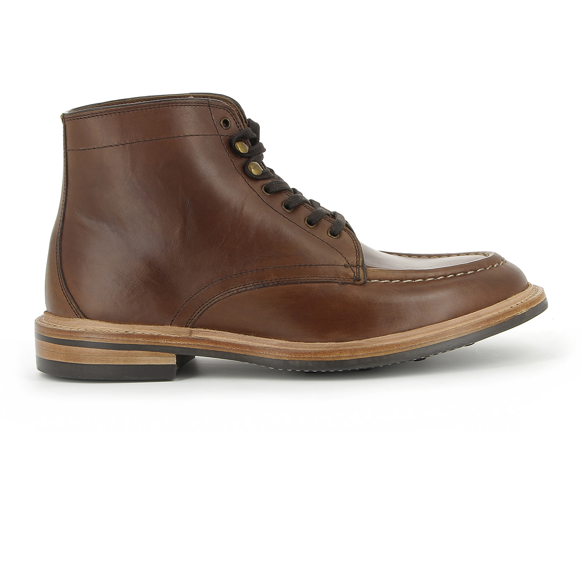 Monogram Apron Pull Up Boot Dark Brown Leather